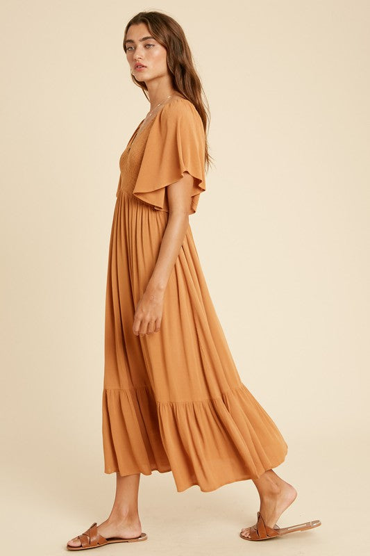 Scarlett Midi Dress Orange