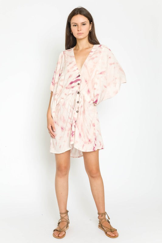 Costa Mesa Tie Dye Kimono Dress Raspberry