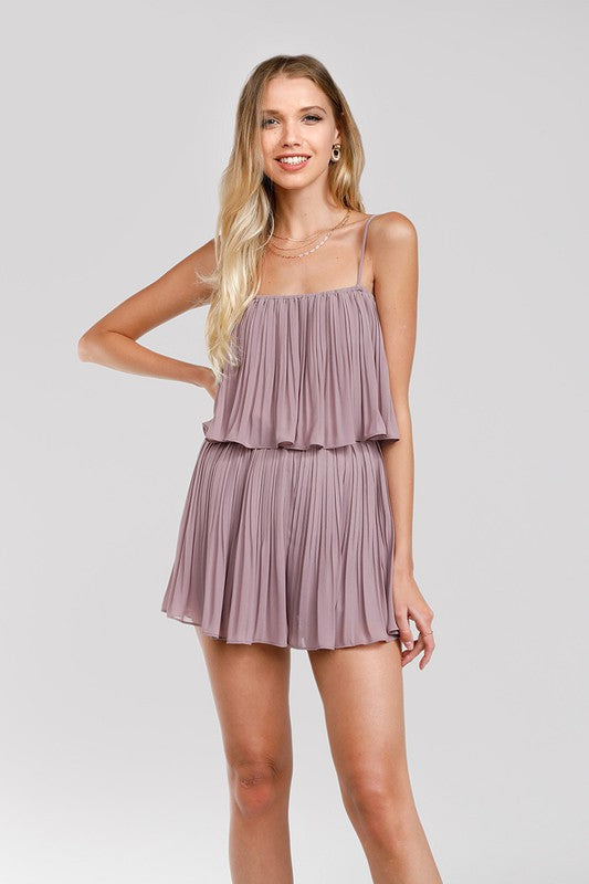 Alexa Pleated Romper Lavender