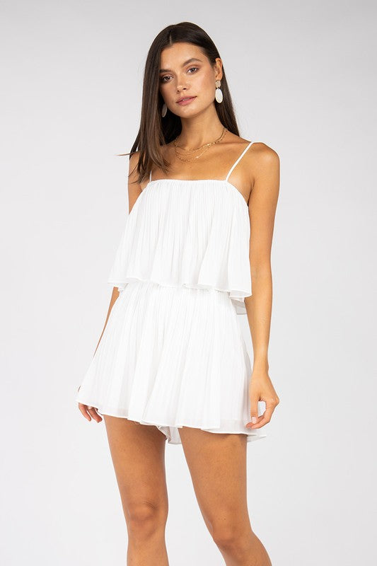 Alexa Pleated Romper White