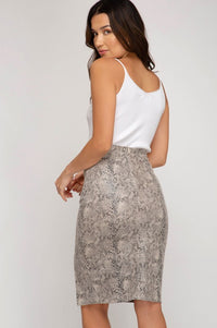 Snakeskin Faux Suede Midi Skirt