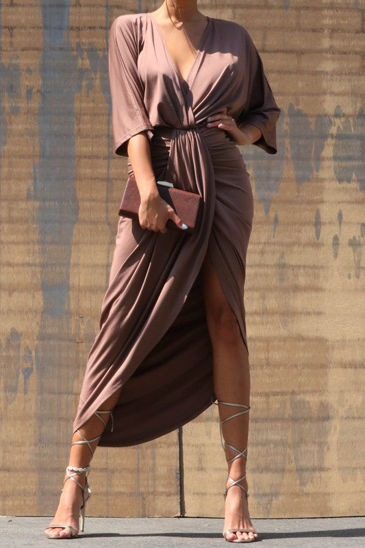 Venetian Ruched Dress Mocha