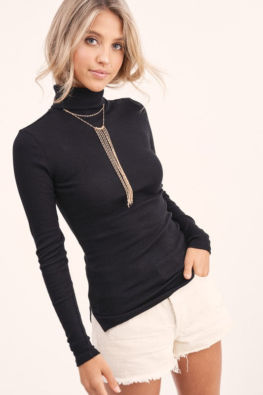 Vista Turtleneck Top Black