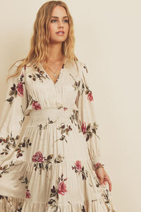 Spaced Floral Tiered Midi Dress