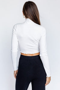 Talia Smocked Crop Top Ivory