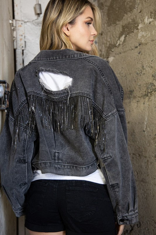 Showstopper Rhinestone Denim Jacket