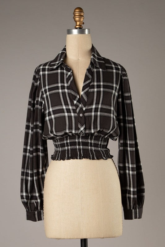 Kiara Plaid Top Charcoal