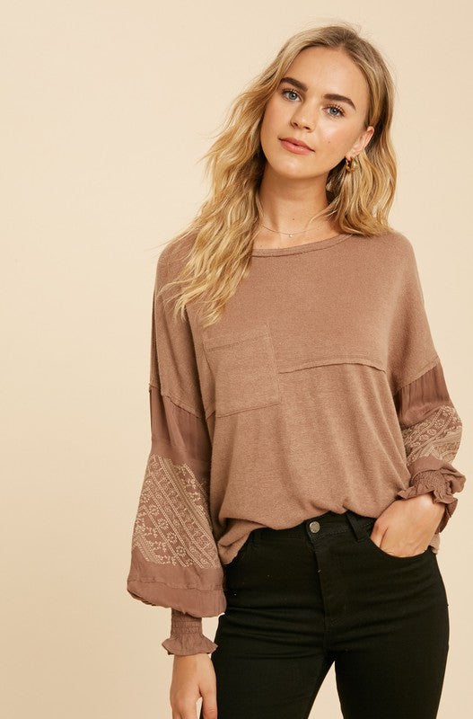 Serena Embroidered Top Mocha