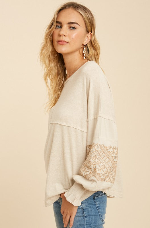 Serena Embroidered Top Oatmeal