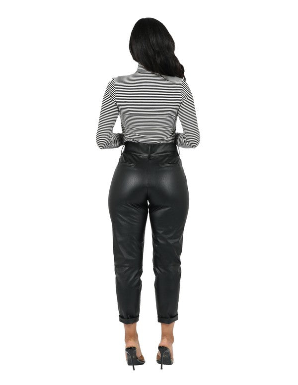 Chic Faux Leather Trouser