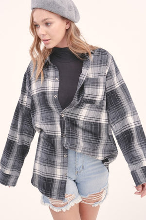 Illusion Plaid Top Charcoal