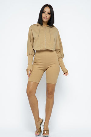 Cold Brew Hooded Romper