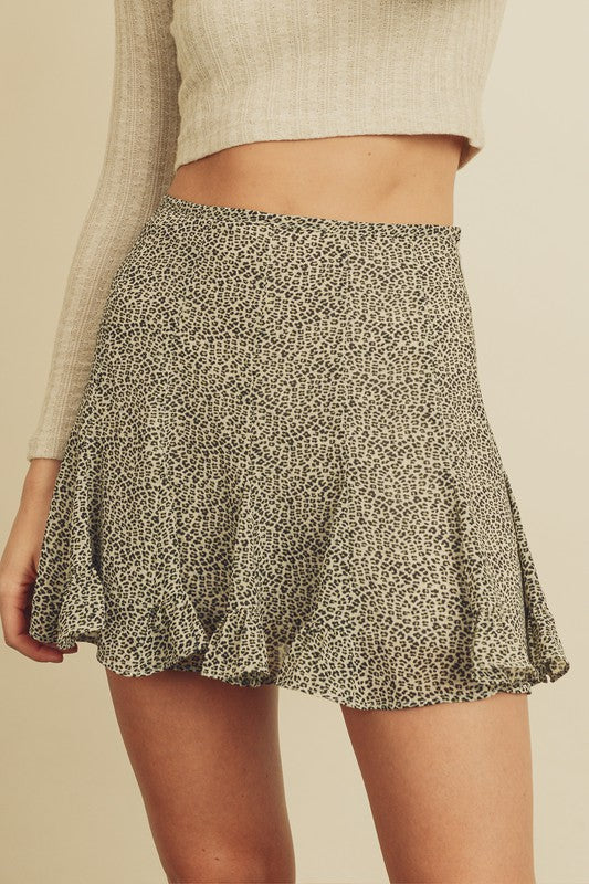Mini Leopard Flared Skirt