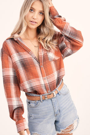 Illusion Plaid Top Pumpkin