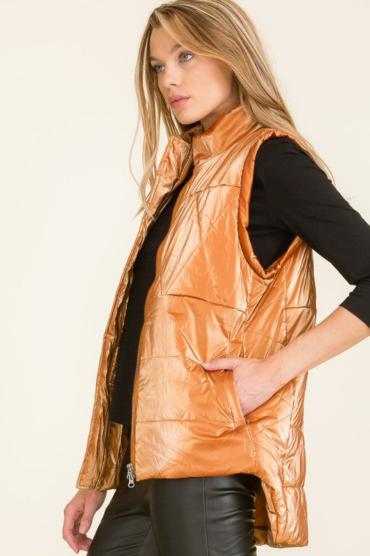 Metallic Vest Burnt Orange