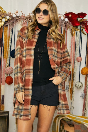 Alicia Plaid Button Down Rust