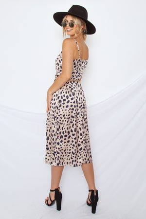 Satin Leopard Slip Dress