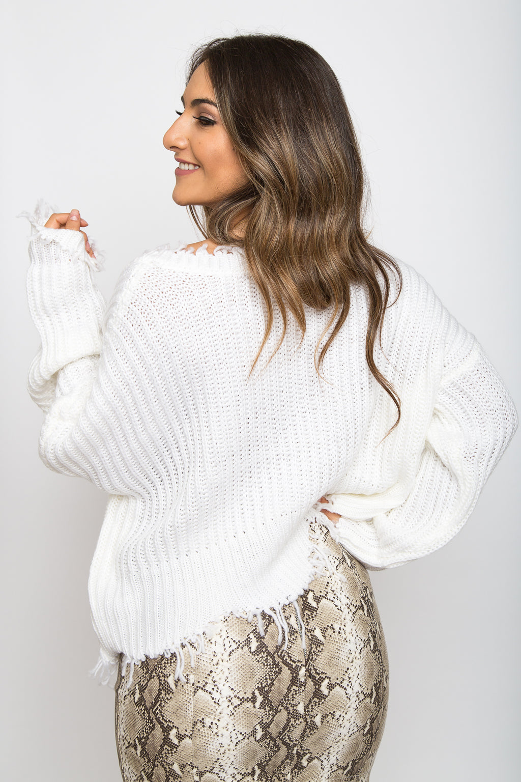 Christie Cropped Sweater Ivory