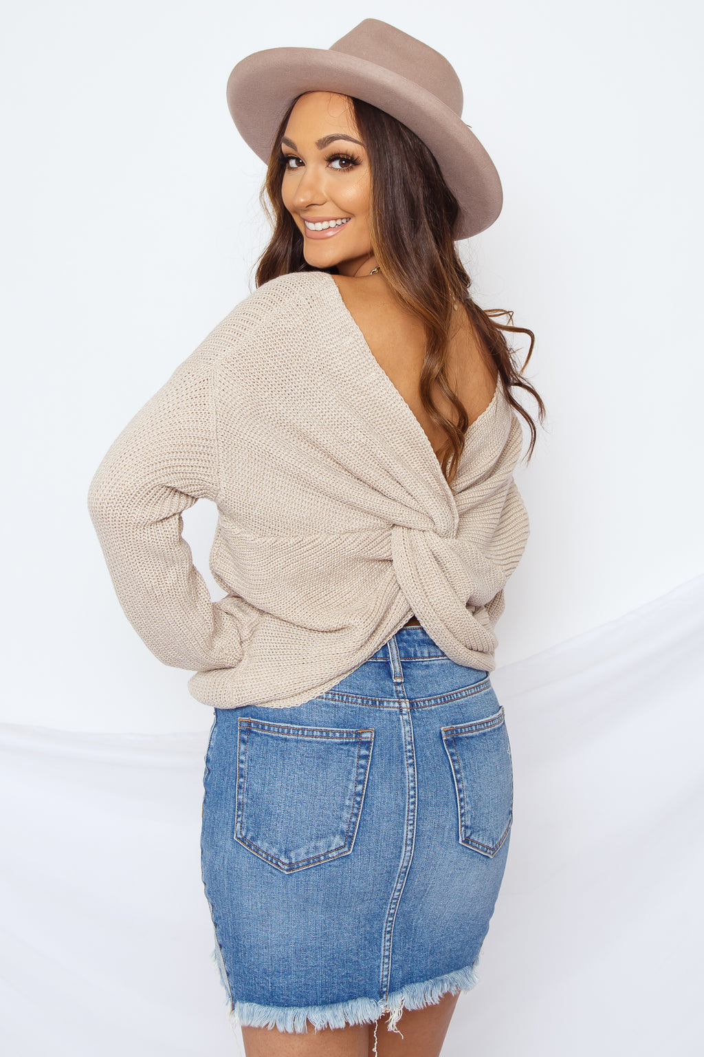 Alex Open Back Sweater Beige