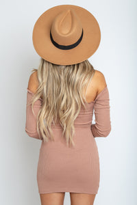 Fall Front Tie Dress Taupe