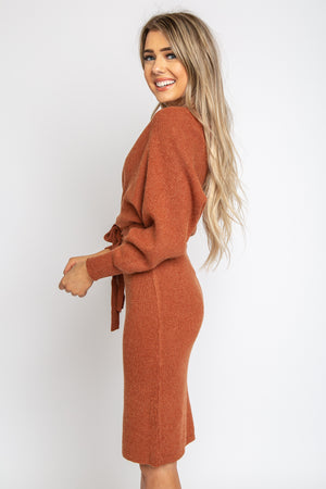 Emmy Sweater Dress Rust