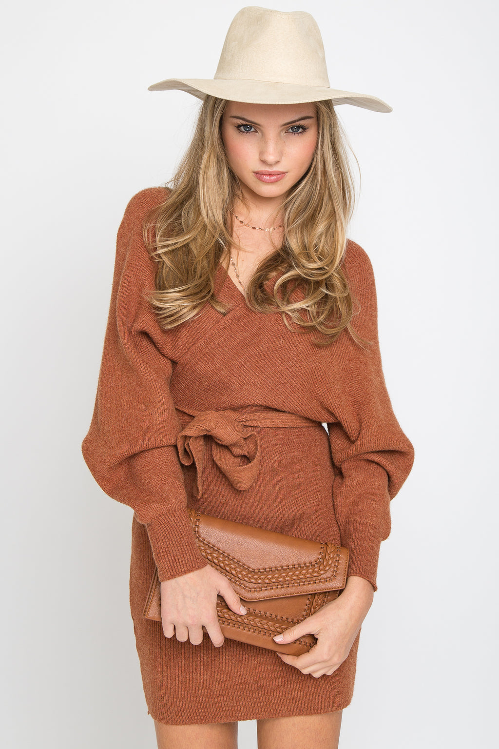 Emma Sweater Dress Rust