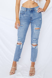 Malibu Distressed High Rise Jean
