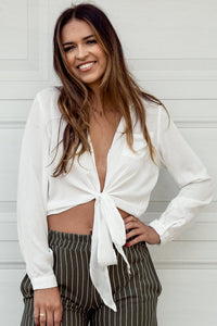 Kelli Tie-Closure Crop Shirt
