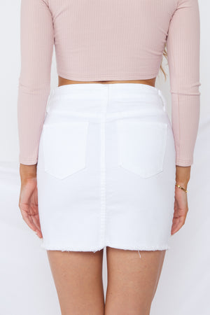 Kiara Denim Skirt White