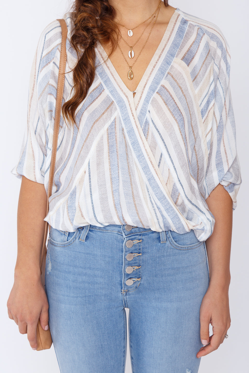 Roxy Striped Surplice Top