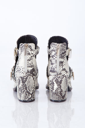 Snakeskin Double Buckle Bootie