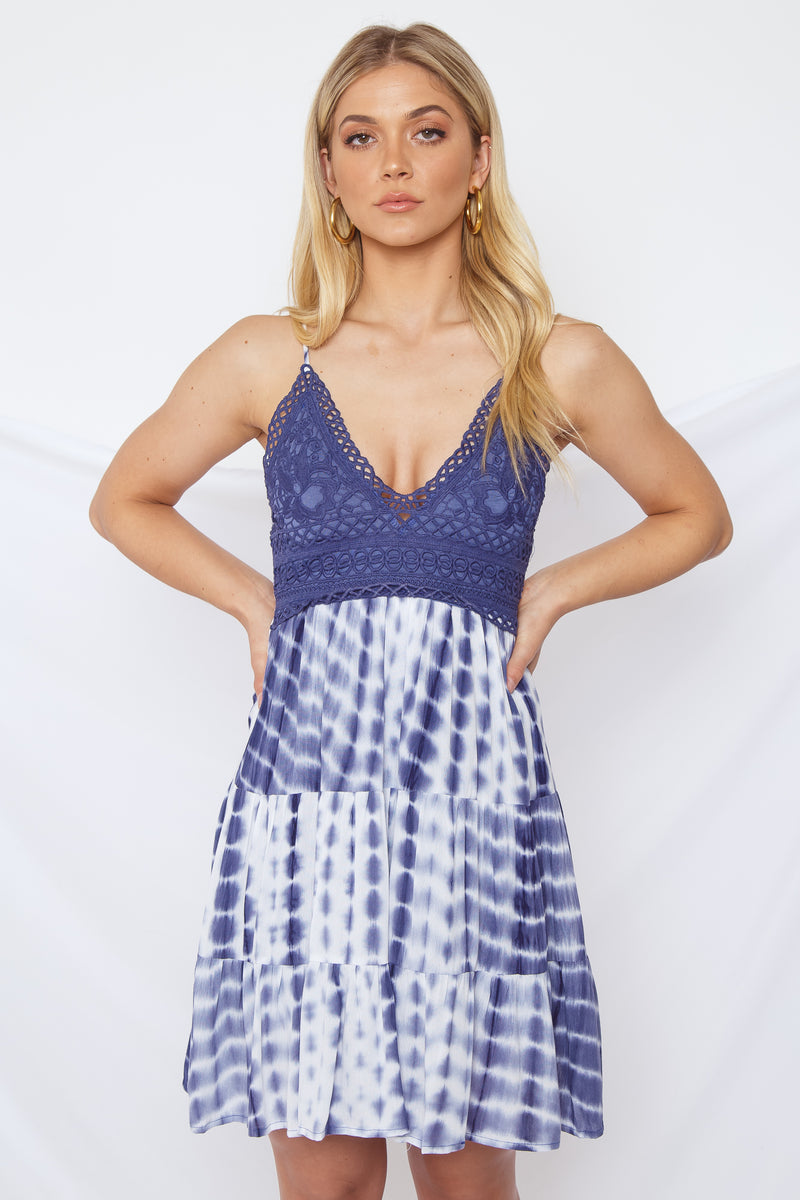 Kalia Tie Dye Dress Navy