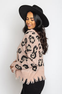 Leopard Distressed Sweater Blush