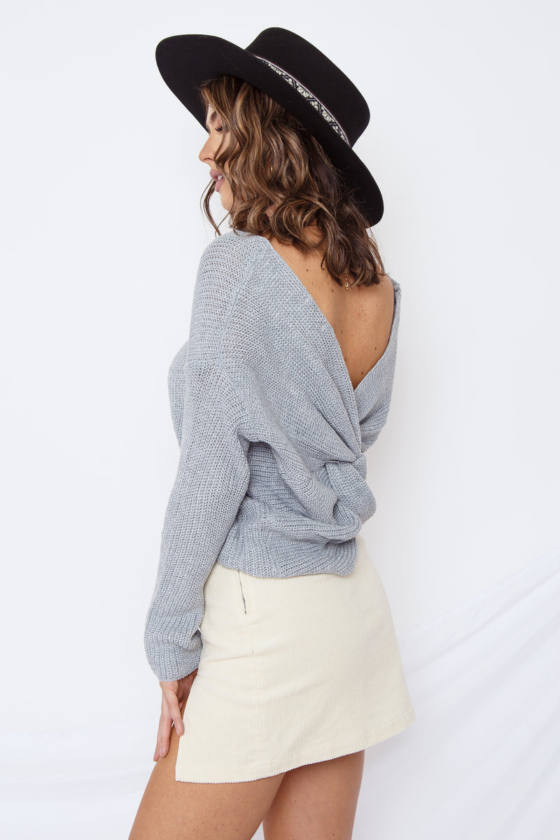 Alex Open Back Sweater Grey
