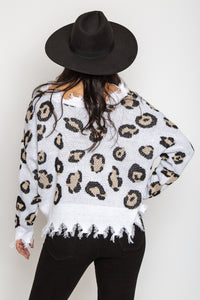 Leopard Distressed Sweater Ivory
