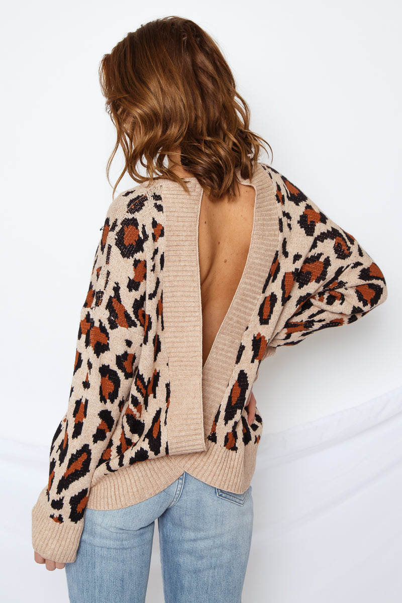 Leopard Open Back Sweater Mocha