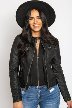 Hooded Faux Leather Jacket