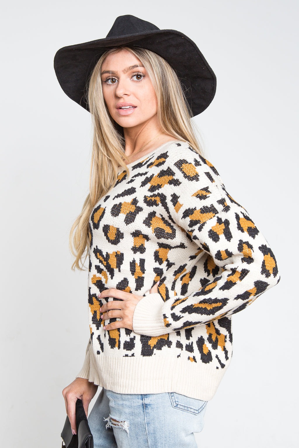 Leopard Open Back Sweater