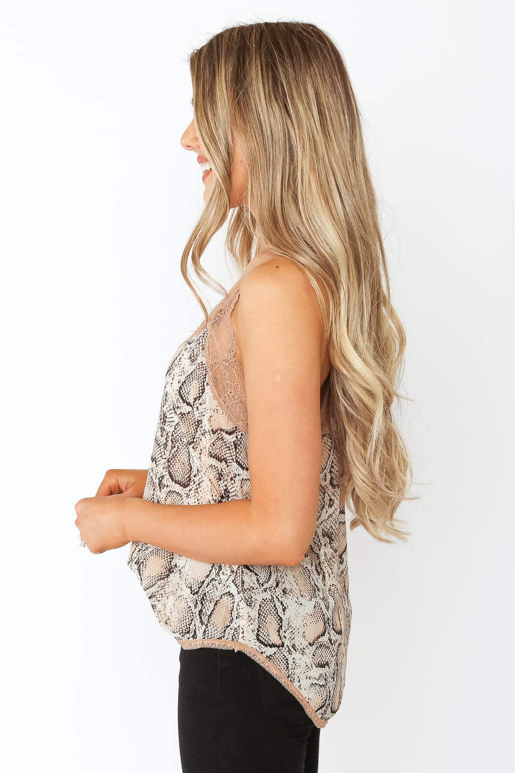 Snake Print Lace Cami Nude