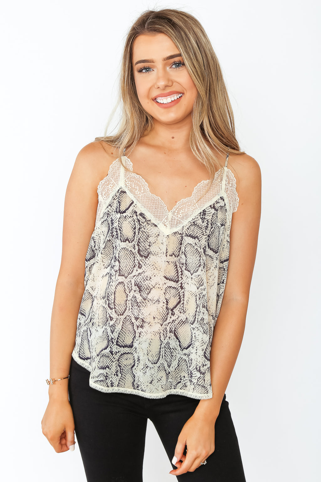 Snake Print Lace Cami Cream