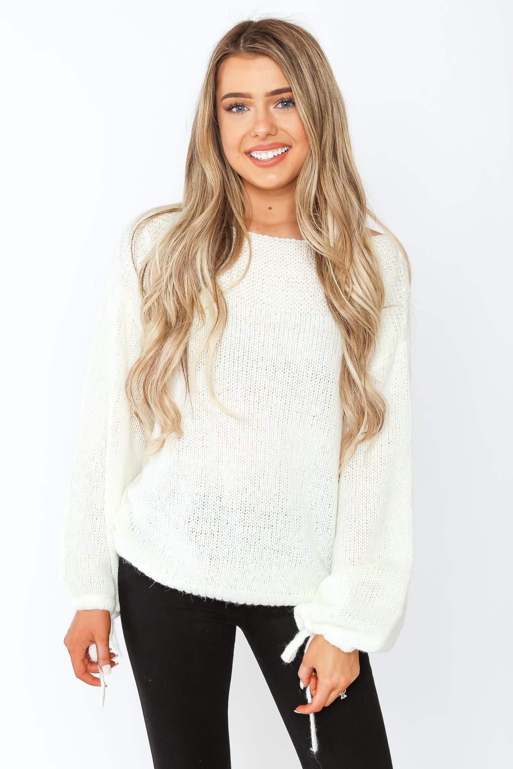 Tie Sleeve Sweater Ivory