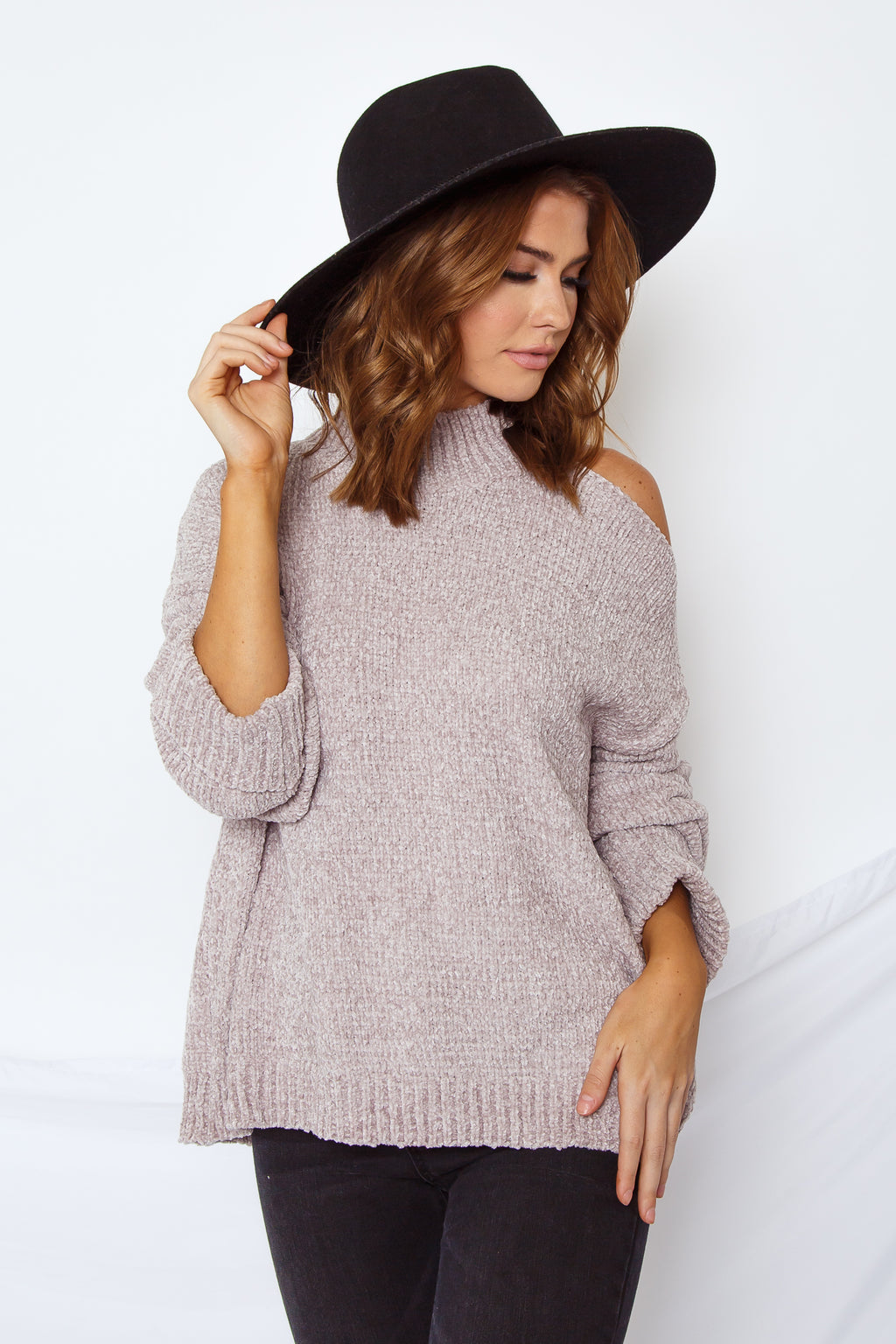 Open Shoulder Chenille Sweater