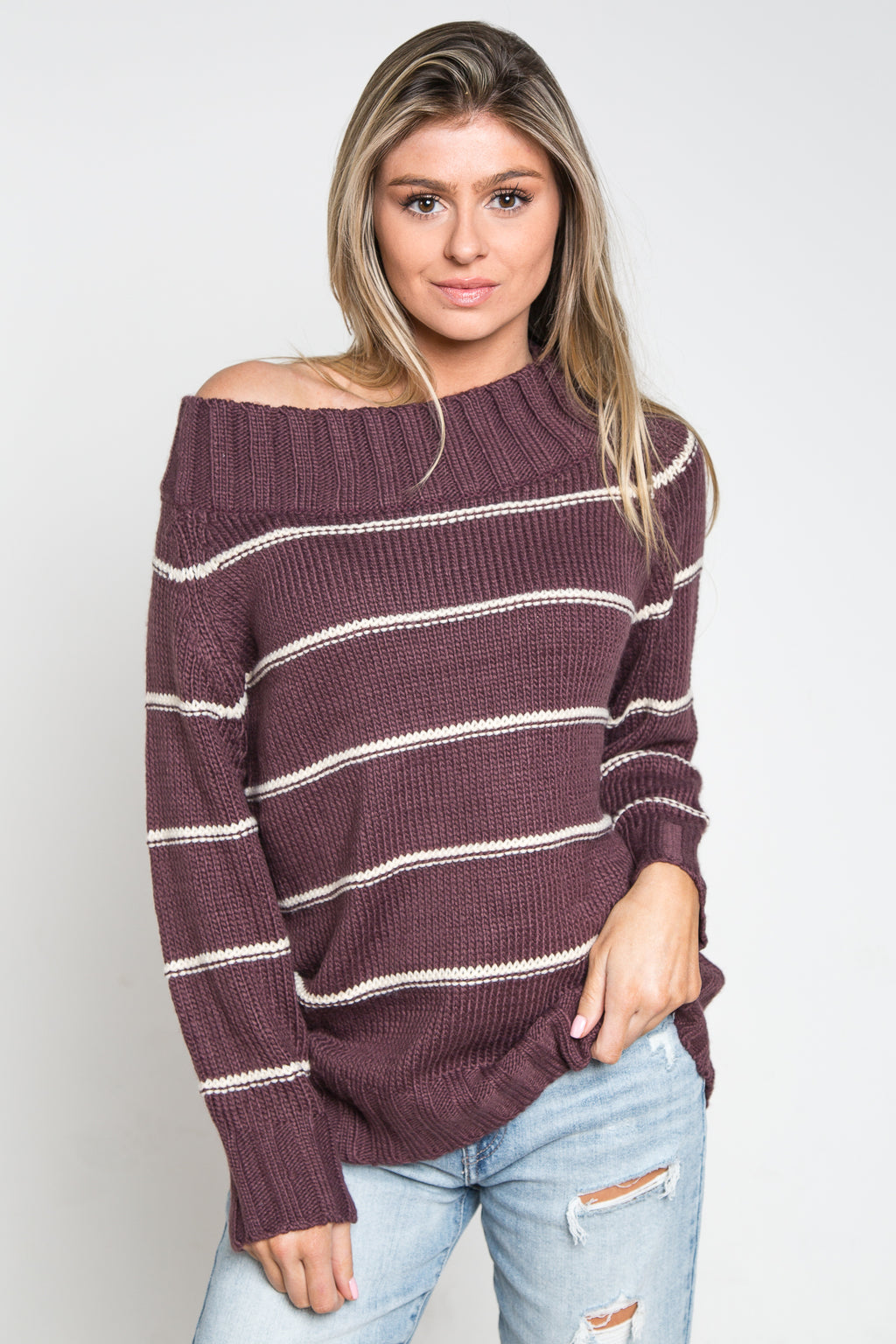 Jessa Knit Sweater Plum