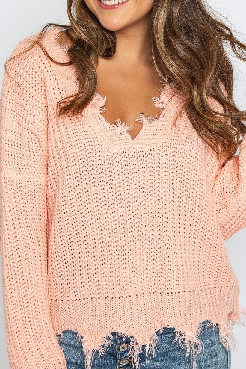 Crystal Distressed Sweater Bright Peach