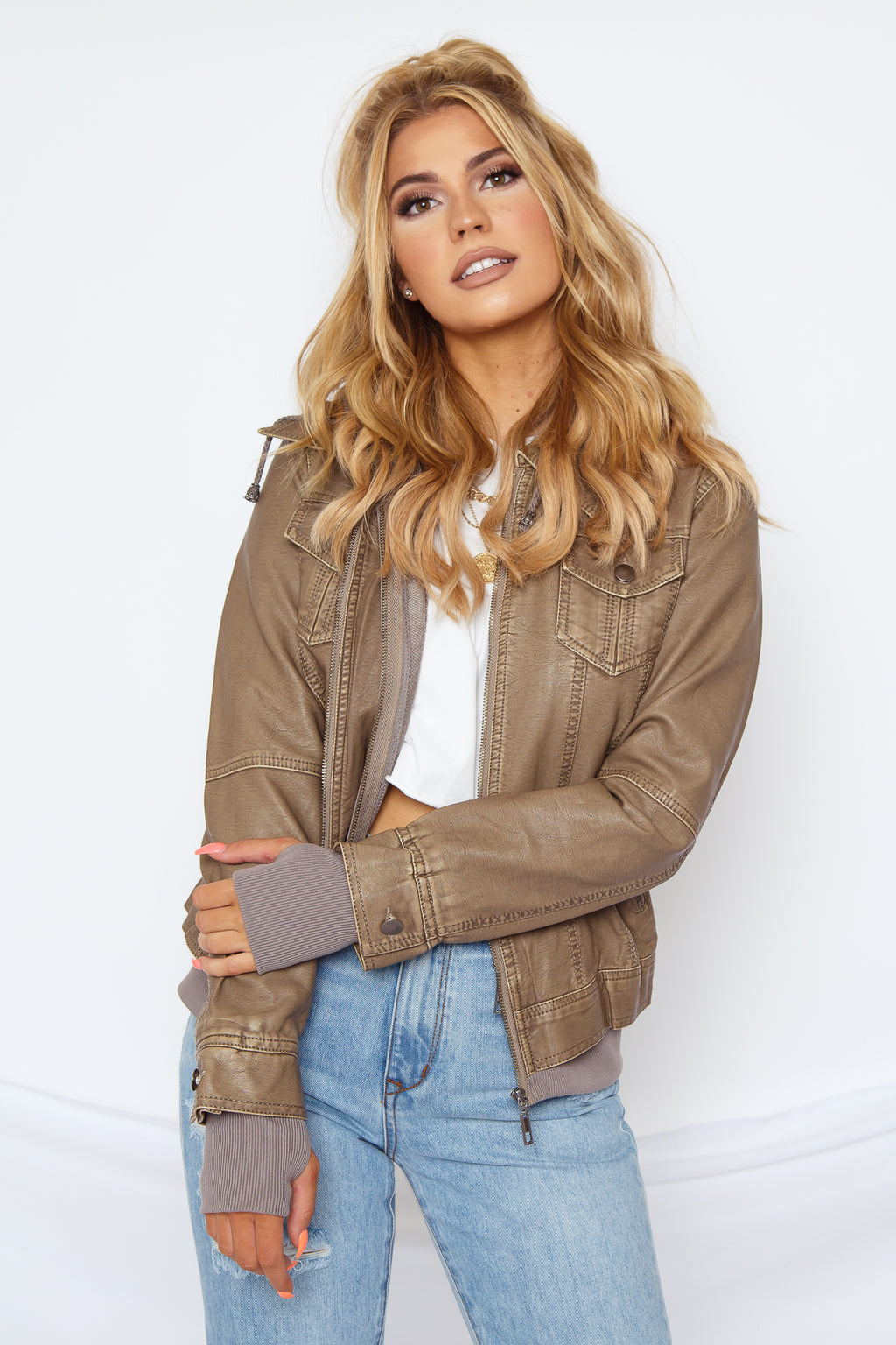 Karter Faux Leather Jacket Grey
