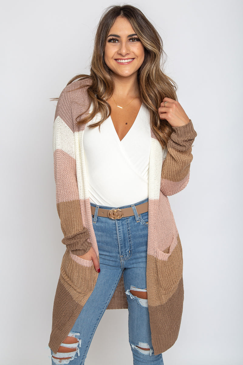 Genevieve Cardigan Dust Pink/Taupe
