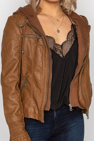Hooded Faux Leather Jacket Camel
