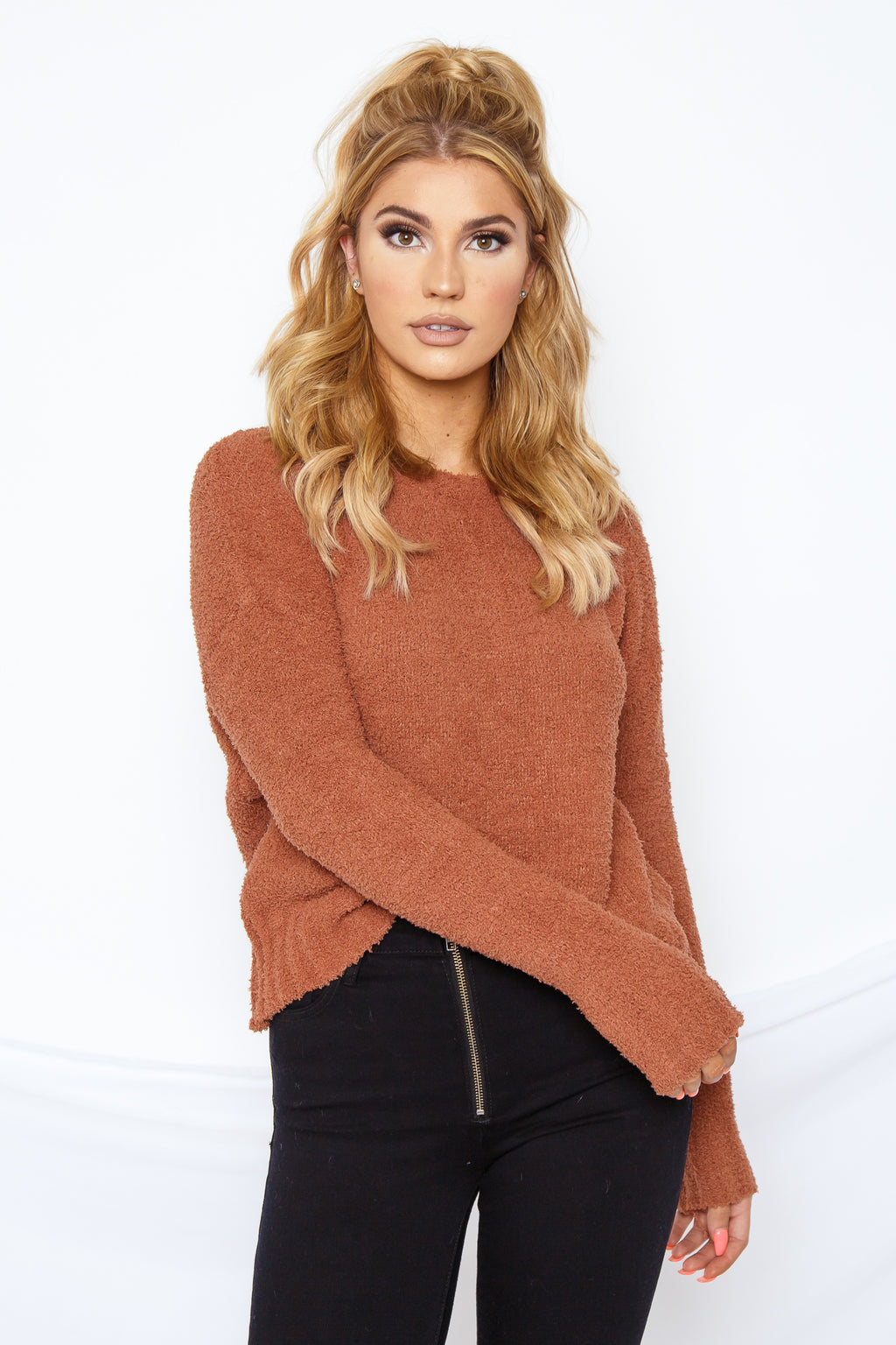 Fuzzy Pullover Sweater Rust
