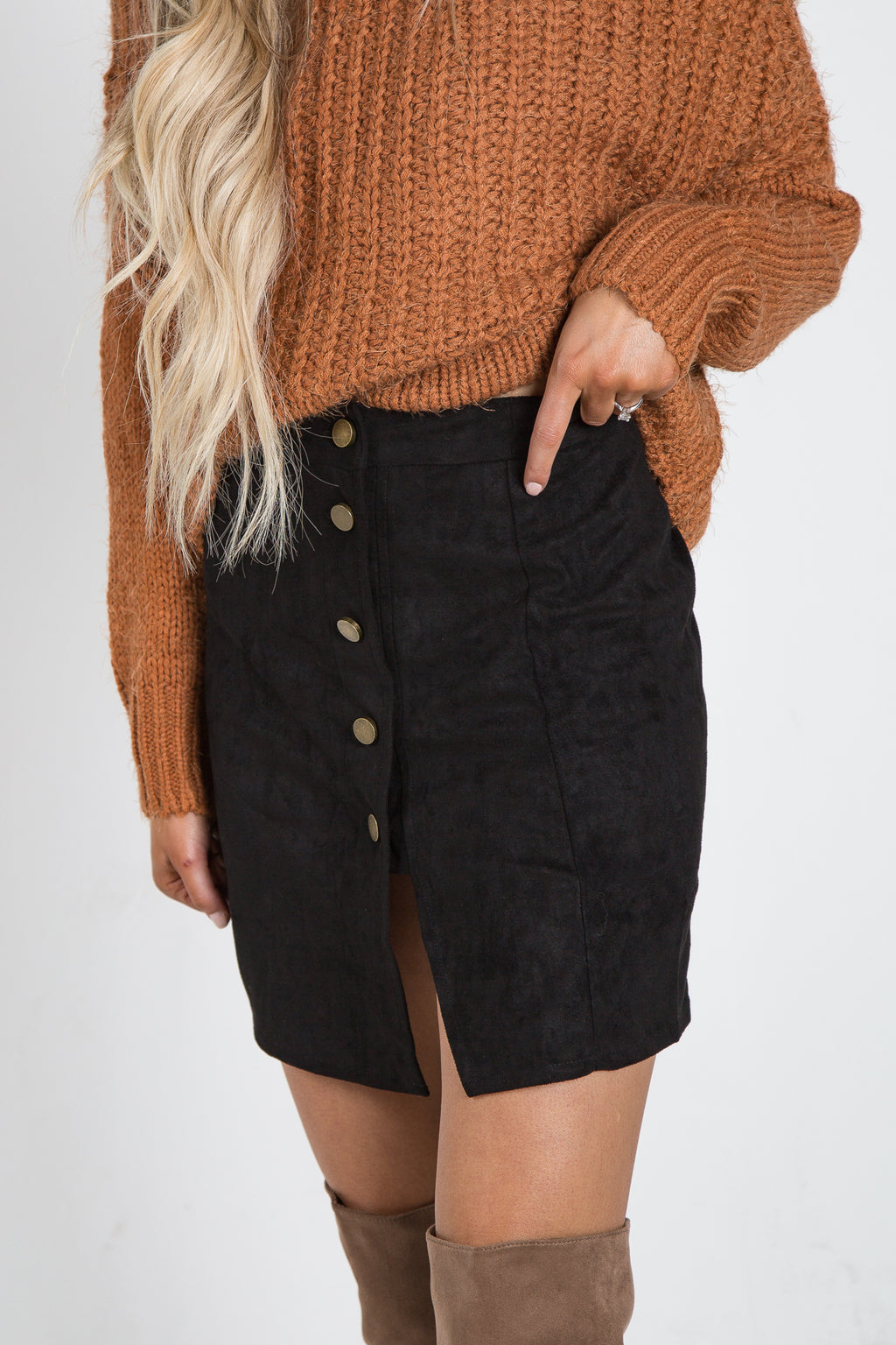Florence Faux Suede Skirt Black