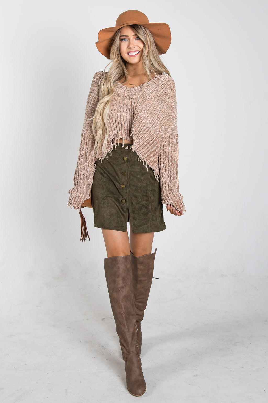 Florence Faux Suede Skirt Olive